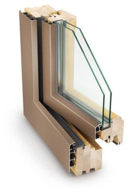 Дерево-алюминиевые окна 68 мм