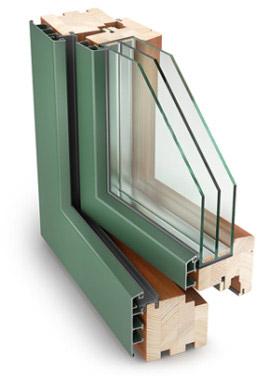 Дерево-алюминиевые окна 78 мм